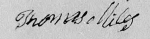 Thomas Miles Signature 29 Mar 1833 on his sworn affidavit included int he Revolutionary War Pension Application of Thoma
