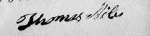 Thomas Miles Signature 15 Aug 1833 on his sworn affidavit included in the Revolutionary War Pension Application of Thoma