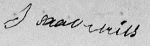 Isaac Miles Signature 27 Apr 1842 on his sworn affidavit included in the Revolutionary War Pension Application of Landon