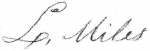 Signature of Landon Miles on the 'Appraisal Bill' of the estate of his nephew Rev. Miles Rainwater 08 Aug 1826