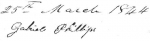 Signature of Gabriel Phillips - witness on receipt of payment of interest to Nancy Edwards Rainwater, guardian to of her