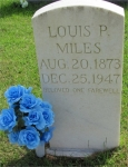 Louis Perry Miles is the son of Landon Miles and Elizer Cargile.  He married Mary Jane McDonald 24 Aug 1896.