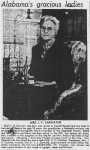 Mucia Ida Miles Tarwater, daughter of Wilbur F. Miles and Levina A. Moore. (unsoucred newspaper article from the Fayette