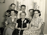Reunion shortly after WW2. Front row from left, Thelma Louise  (Cissy) Miles Bacon, center, the mother, widow of Ray Fra