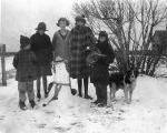 Snow Day in Rice, Texas on Rod Bartlett farm Left to Right: Joel, Ida May, Lala, Bessie, Sherman Allen