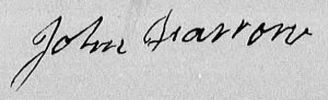 John Farrow's signature on his Rev. War pension application.